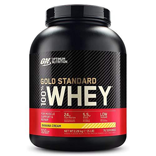 Optimum Nutrition ON Gold Standard Whey Protein Pulver, Eiweißpulver zum Muskelaufbau, natürlich enthaltene BCAA und Glutamin, Banana Cream, 76 Portionen, 2.28kg, Verpackung kann Variieren