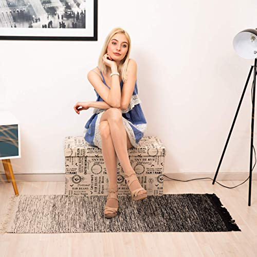 Relaxdays Faltbare Sitzbank, Aufbewahrungstruhe mit Beauty Motiv, gepolsterte Sitztruhe HxBxT: 38 x 76 x 38 cm, bunt - 3