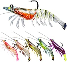 TRUSCEND Fishing Lures for Bass, Pre-Rigged Soft Shrimp Lures for Saltwater Fishing, Best Bottom Fishing Lure with VMC Hook, Fishing Bait for Saltwater & Freshwater, Bass Fishing Jigs
