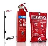 FF UK - Extintor premium ABC de polvo seco, de 1 kg, con certificación Kitemark de BSI y manta de extinción con sello de la CE, ideal para hogares, barcos, cocinas, oficinas, coches, caravanas, almacenes, hoteles y restaurantes