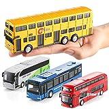 Geyiie Bus Spielzeugautos Auto Spielzeug Set Modell autospiegel Baby Aufziehautos Spielsachen Aufzieh Druckgussautors für Jungen Mädchen Kinder Geschenk ab 1 2 3 Jahre Spielset