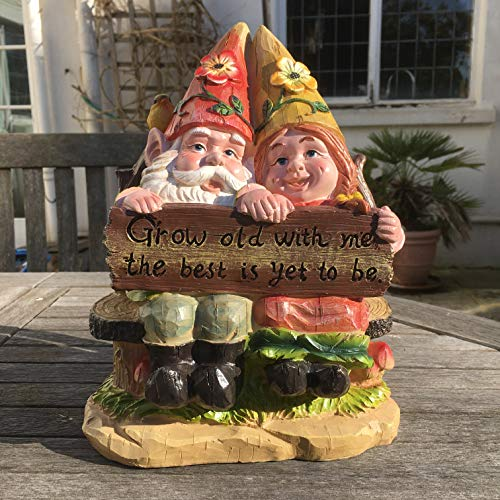 Mr and Mrs Gnome on a bench, Garden Ornament, Gnome, Garden Fairy, Troll, Imp
