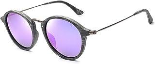 WUZHOUAME Moda para Hombres y Mujeres Piernas de Madera Hechas a Mano Gafas de Sol polarizadas Retro Vintage Marco pequeño Placa de Gafas de Sol Imitación Madera Grano Gafas de Sol (Color : Purple)