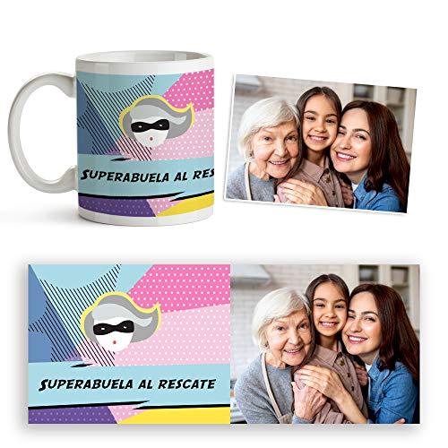 Fotoprix Taza Super Abuela Personalizada con Foto y Texto | Regalo Original Madre y Abuela | Varios diseños Disponibles (Superabuela) (Superabuela)
