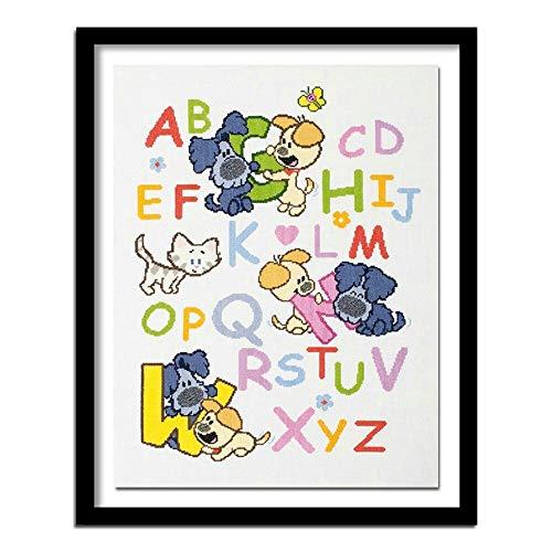 hetingyue DIY Malen nach Zahlen Digitale Malerei für Erwachsene, Kinderbuchstaben mit Pinsel und Acrylfarbe rahmenlose Malerei 40X50cm