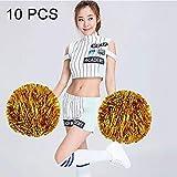 10 PCS Square Dance Aerobic Cheerleading balón con la Mano Ramo de Flores, de la Cinta Longitud: 30 cm (Verde) Práctico Equipo de Gimnasia en el hogar. (Color : Gold)
