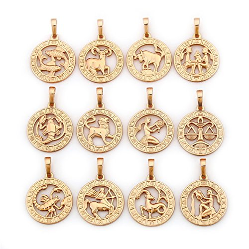 elegante Sternzeichen Kette Gold 18K echt vergoldet Luxus Schmuck Callissi Kette ca. 45 cm (Fische)