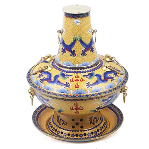 Great Deal! Beijing Hot Pot Old Peking Red Copper Hotpot Chinese Tranditional Cloisonne Charcoal Old...