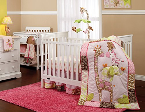 Carter's Jungle Collection 7-Piece Nursery Crib Bedding Set, Pink/Lime/Brown/Tan