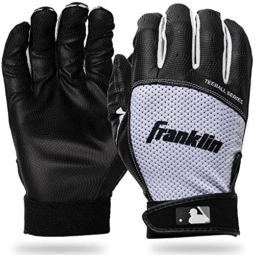 Franklin Sports Youth Teeball Batting Gloves - Youth Flex - Kids Batting Gloves for Teeball, Baseball, Softball - Black/White - Extra Small