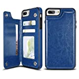 UEEBAI Case for iPhone SE 2020 iPhone 7 iPhone 8, Luxury PU Leather Case with [Two Magnetic Clasp] [Card Slots] Stand Function Durable Shockproof Soft TPU Case Back Wallet Flip Cover - Blue