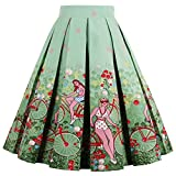 Girstunm Women's Pleated Vintage Skirt Floral Print A-line Midi Skirts with Pockets Bike-Ladies S
