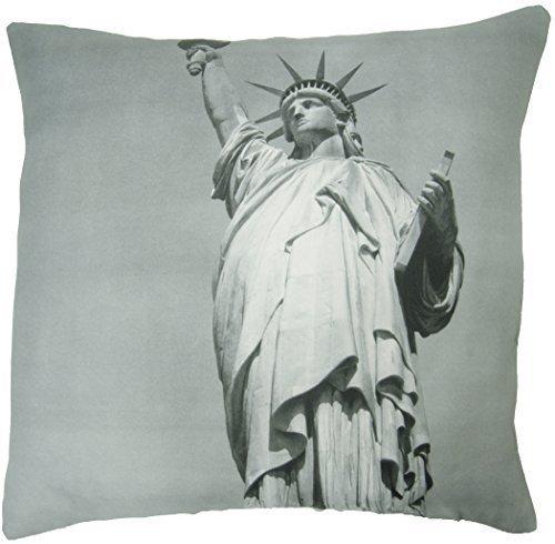 Coussin garni avec motif Statue de la Liberté de New York 45,7 cm Noir