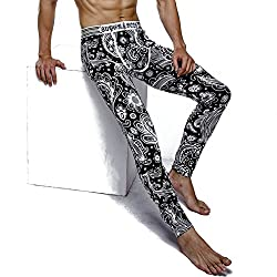 printed patterned long underwear for men black