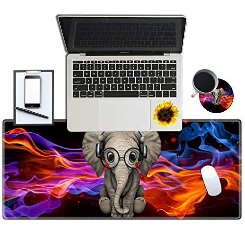Gaming Mouse Pad Desk Mat Keyboard Pad Large Mousepad for Laptop with Stitched Edges Non Slip Base for Office Work Home Decor (with a Cute Coasters & Sticker) - Cute Elephant