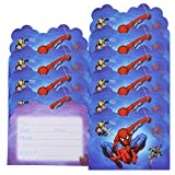 Qemsele inviti Compleanno Bambini, 30 Inglese Inviti Battesimo con Buste Biglietti Cartoline per Bambini, Ragazze Festa di Compleanno e Baby Shower (4,3 * 5,5 Pollici (11 * 14 cm), Spiderman)