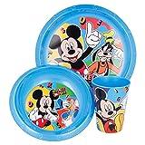 MICKEY MOUSE   Set Vajilla Infantil - Resistente   Servicio de Mesa libre de BPA para niños y bebés - 3 Piezas: Vaso, Plato y Cuenco