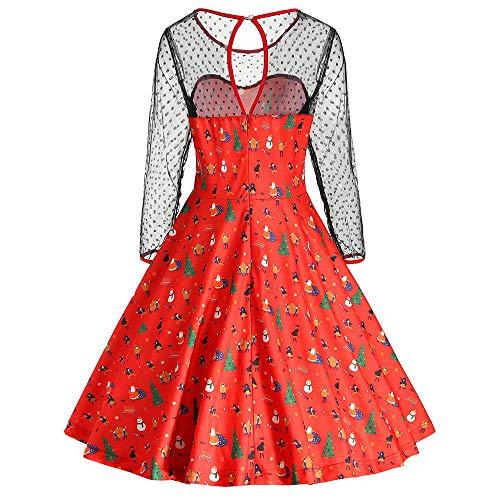 FIRMON-Halloween Wunderschönes Damen-Kleid, Weihnachtsmuster, Netzstoff, Patchwork, Spitze, Lange Ärmel, Party-Schaukeln, Elegantes Vintage-Kleid Gr. X-Large, rot