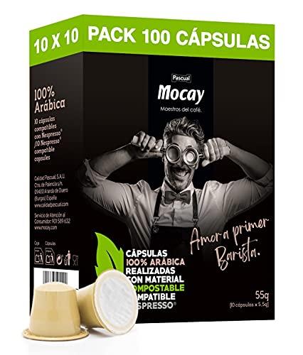 Mocay – 100 Cápsulas de Café Compostables, Compatibles con Máquinas Nespresso, Paquetes de 10 x 10 Cápsulas