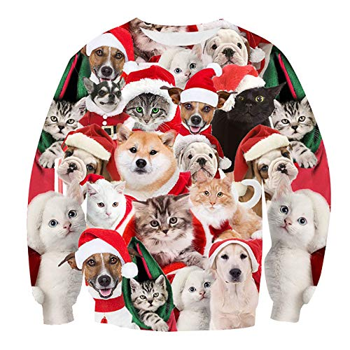 FHQCU 3D Print - Suéter de Navidad Unisex con diseño de Animales realistas con Cuello Redondo para Mujeres y Hombres, Talla L