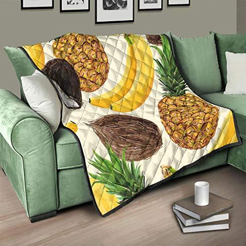 Flowerhome Colcha de piña plátano de coco, colcha para cama, sofá, cama, color blanco, 130 x 150 cm