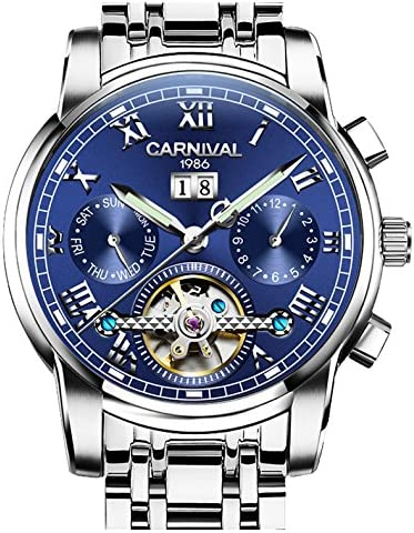Mens tourbillon Automatic Mechanical Watch Silver Stainless Steel Multifunction Blue Watches product image