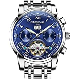 CARNIVAL Mens tourbillon Automatic Mechanical Watch Silver Stainless Steel Multifunction Blue Watches (Silver/Blue)