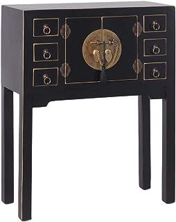 Consola de 6 cajones y 2 Puertas Oriental Negra de Madera para salón Sol Naciente - LOLAhome