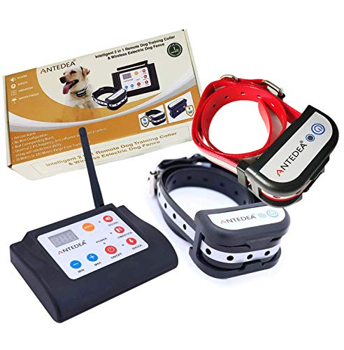 2 in 1 Electric Fence for 2 Dogs & Inbuilt Remote Dog Training Collar for All Type dog, No Need to...