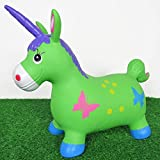 Welliboom Unicorn Hopper Kit, Pump Included, Inflatable Jumping Unicorn, Space Hopper, Ride-on Bouncy Unicorn Horse Hopper, Sit and Bounce, 3-Colors Available(Green