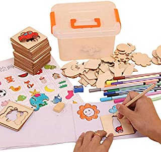 Wooden painting graffiti tool Toys for Children Toy Puzzle Cube Educational Painting Drawing for Kids baby toys