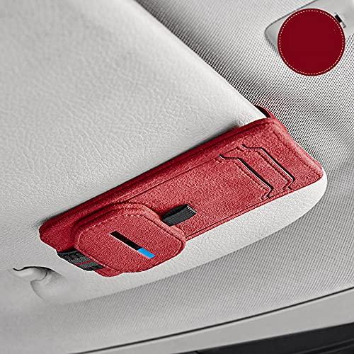 MOOKXUU レザー サングラスクリップ サンバイザー 車眼鏡ホルダー サングラス ホルダー サンバイザーポケット 車用 バイザーポケット 多機能車載収納用 車載メガネクリップ 取り付け簡単(2種類の革と3色からお選びいただけます) (ヌバックレッド)