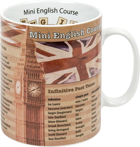 Könitz Taza de desayuno, diseño con texto 'Mini English Course'