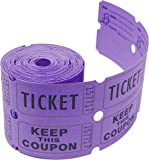 Tacticai 200 Purple Raffle Tickets (8 Colors Available) for Events, Entry, Class Reward, Fundraiser & Prizes (Double Roll - 2' x 2' Tickets - Keep) - Made in USA