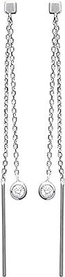 Tata Gisele® - Orecchini in argento rodiato 925/000 e ossido di zirconio, doppia catena pendente