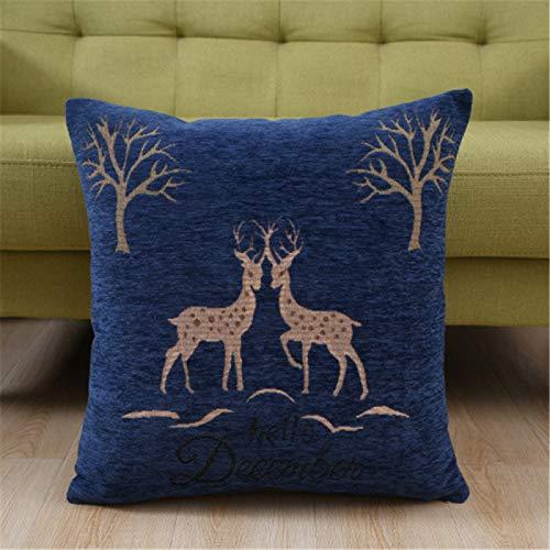 NQING Blue Elk Sports Funda De Almohada Cuadrada Suave Y Transpirable Sofá De Dormitorio Sala De Estar Funda De Almohada para Coche Cuidado Simple Funda De Almohada con Cremallera Oculta