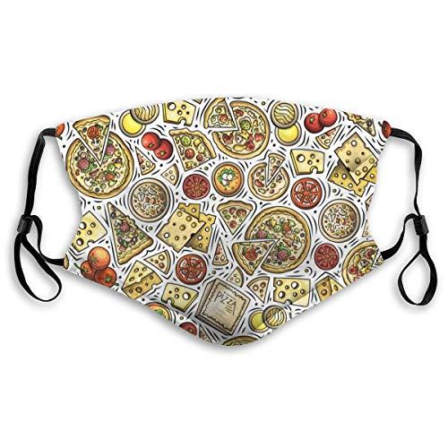 Cartoon schattige hand getekende pizza. Pizza Kaas Tomaat In Heldere Kleuren Met Snelle Voedsel Symbool Mond Mouw Cover Met Filter Unisex