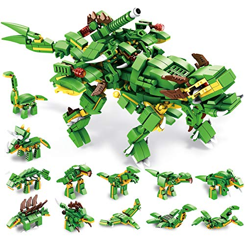 PANLOS STEM Educational Learning Building Bricks Toy 577 Pieces Dinosaur Building Blocks Set Tyrannosaurus Building Kits Gifts for Kids Boys and Girls Tight Fit and Compatible with All Major Brands