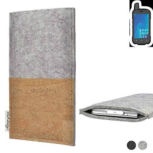 flat.design Handy Tasche Evora für Ruggear RG720 handgefertigte Handy Hülle Kork Filz Hülle fair Kartenfach