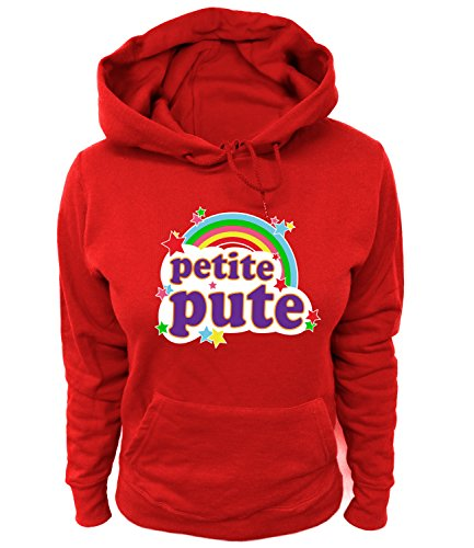 Artdiktat Femme Sweats à Capuche - Petite Pute - Arc en Größe L, Rot
