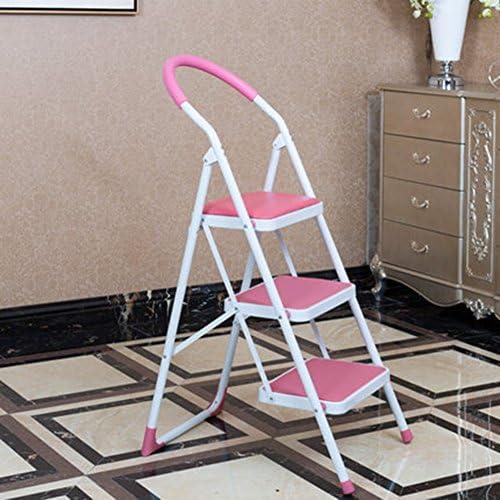 Drei Schritte Klappstuhl Hocker Leiter rutschfeste 3-Stufen-Leiter Haushalt Dual Use Indoor (Farbe   Rosa)