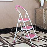 Scaletta Pieghevole con Tre gradini Sgabello Scaletta Antiscivolo per Uso Domestico Scaletta per Uso Interno (Colore : Rosa)