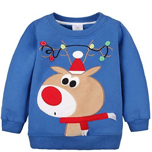G-Kids Baby Mädchen Jungen Fleecepullover Weihnachtspulli Kleinkinder Herbst Winter Verdickte Warm Langarm Pullover Sweatershirt Oberbekleidung Blau 2 Jahre
