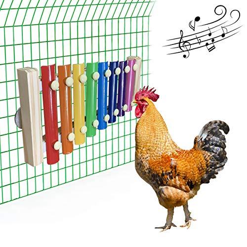 Vehomy Chicken Xilófono Juguete para gallinas de madera Xilófono con 8 llaves de metal Pollo Coop Pecking Toy Pollo Coop Pecking Toy
