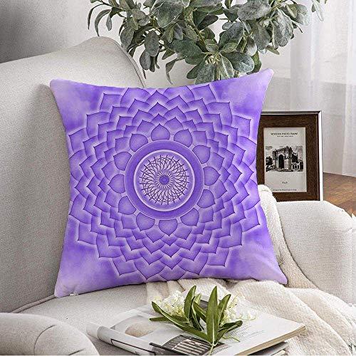 NA Funda de Almohada Decorativa Cuadrada Reiki Yoga Spirit Chakra Poder Meditación Equilibrio Sahasrara Símbolo Indio Energía Resumen Sympol Funda de cojín Suave para Dormitorio Sofá Sofá