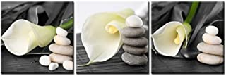 Canvas Print Wall Art Painting For Home Decor Still Life Of White Calla Lily With Gray Spa Pebbles Zen Stones On Black Background Callalily 3 Pieces Panel Paintings Modern Giclee Stretched And Framed Artwork The Picture For Living Room Decoration Flower Pictures Photo Prints On Canvas