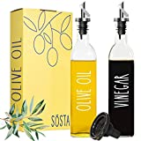 Sósta Olive Oil and Vinegar Dispenser Set | Olive Oil Dispenser Bottle for Kitchen | Glass Oil Bottles for Kitchen | Oil and Vinegar Bottles, Olive Oil Bottle, Oil Container Kitchen, Olive Oil Cruet