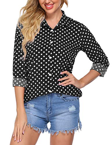 Zeagoo Women's Long Sleeve Casual Polka Dot Button Up Office Blouse Shirt Top,Black,Medium