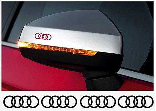 snstyling.com Aufkleber passend für Audi Ringe Felgen- Bremssattel- Spiegel Aufkleber - 4 Stück im Set 40mm (Schwarz)