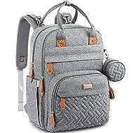 Baby Changing Bag Backpack, BabbleRoo Nappy Changing Back Pack Diaper Bags with Changing Mat & Pacifier Holder for Mom & Dad (Light Grey)